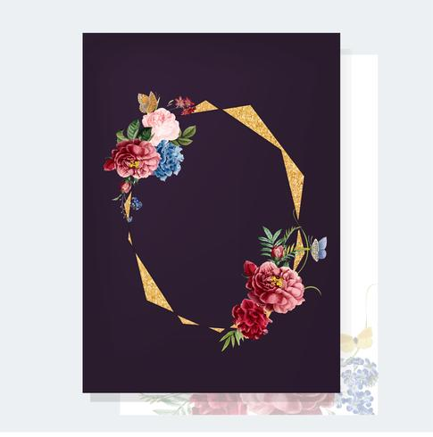 Illustrazione di mockup scheda floreale dell'invito