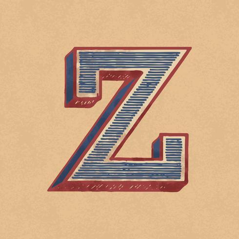 Vintage-Typografieart des Großbuchstaben Z