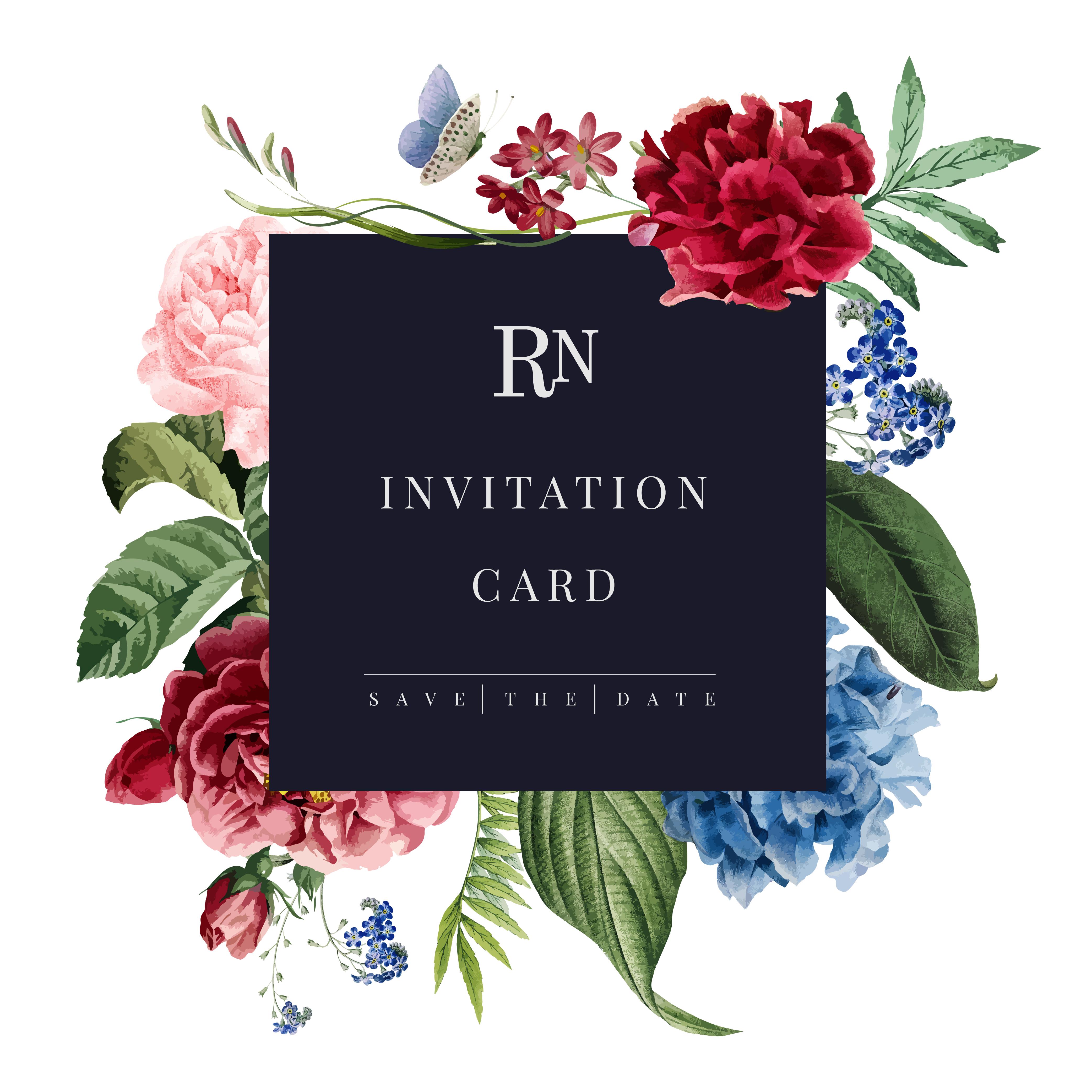 floral invitation card mockup illustration  download free