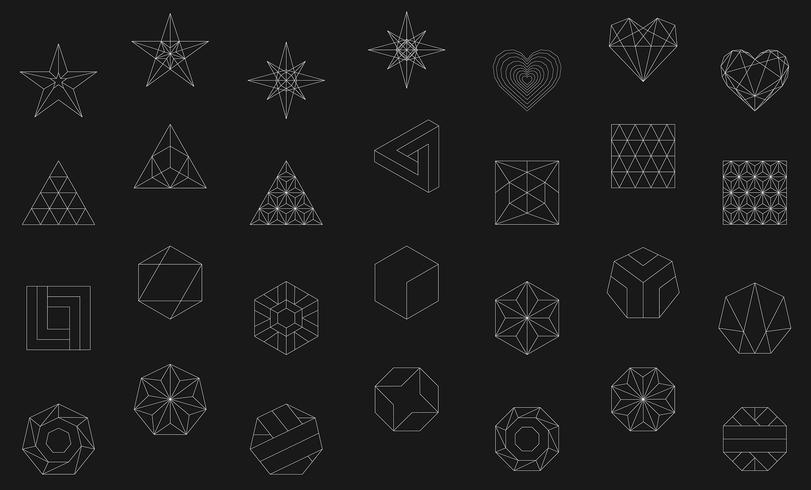 Illustration linéaire de formes géométriques