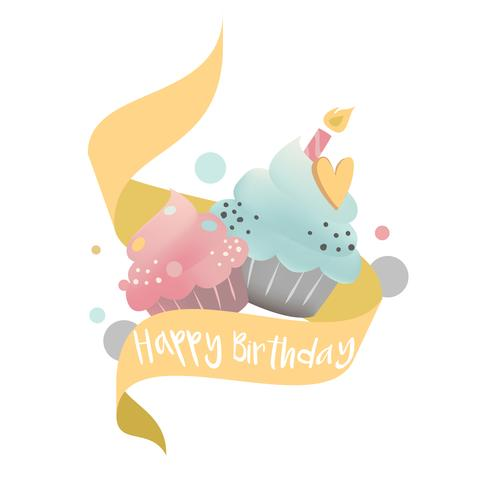 Vector de cupcake colorido con una vela