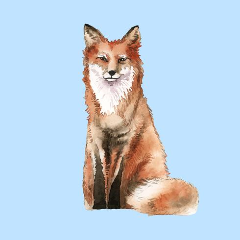 Style d'aquarelle de renard dessiné à la main