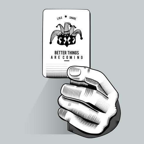 Vector die van hand willekeurige speelkaart houden