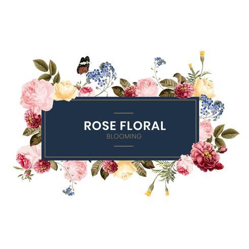 Fioritura rosa illustrazione cornice floreale