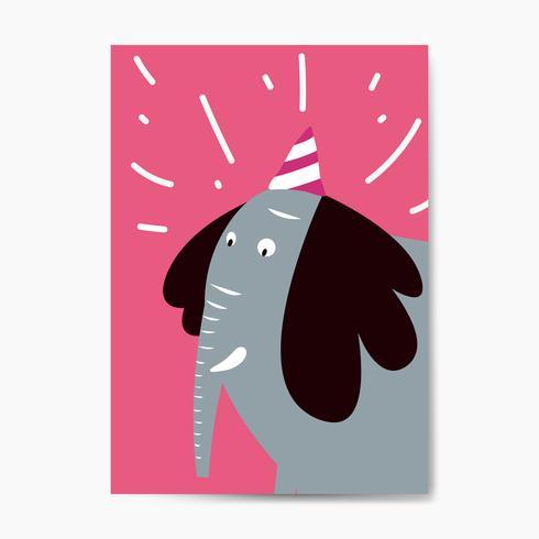 Elefante azul con un sombrero de fiesta vector gráfico
