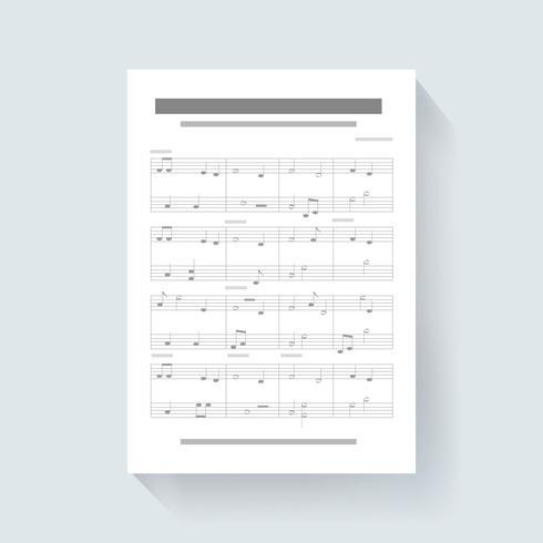 La carta per appunti di musica compone il vettore dell'illustrazione dell'icona di canzone