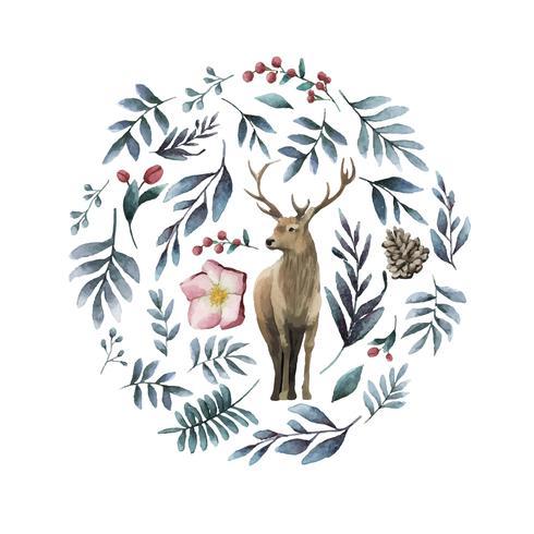 Cervo circondato dal vettore dell'acquerello della fioritura di inverno