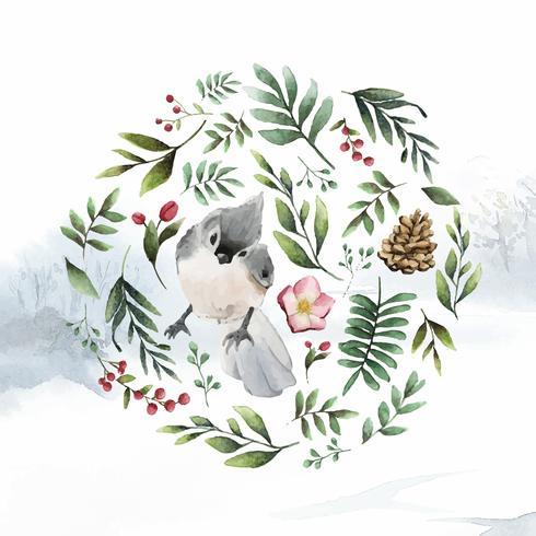 Uccello trapuntato del paro circondato dal vettore della pittura dell'acquerello delle foglie e dei fiori