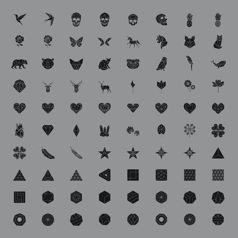 Set van lineaire illustraties van vormen en pictogrammen