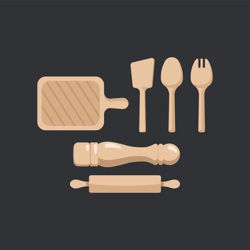 Illustrazione stabilita di vettore di utensili da cucina di legno