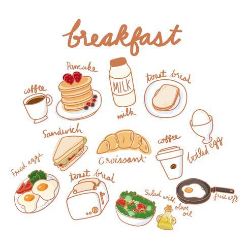 Estilo de desenho de ilustração da coleção de comida