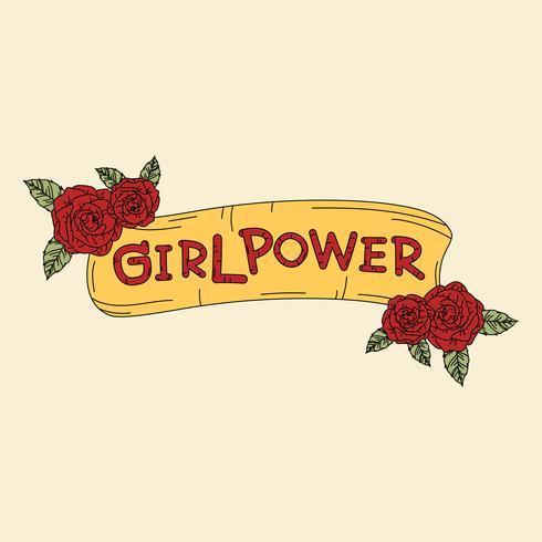 Banner de poder menina com vetor de flores