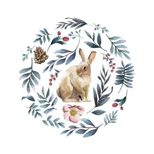 Lapin entouré de fleurs d'hiver peint par vecteur aquarelle