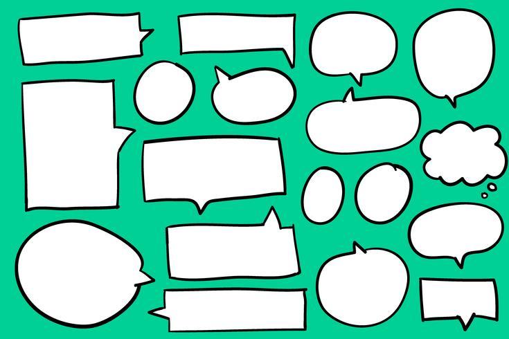 Coleção de bolhas do discurso no vetor de fundo verde