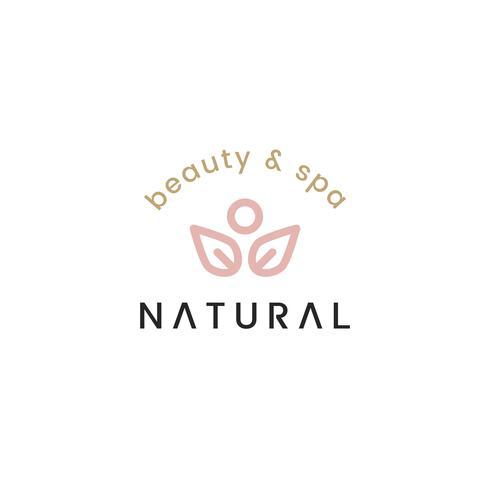 Beleza natural e spa logotipo design ilustração