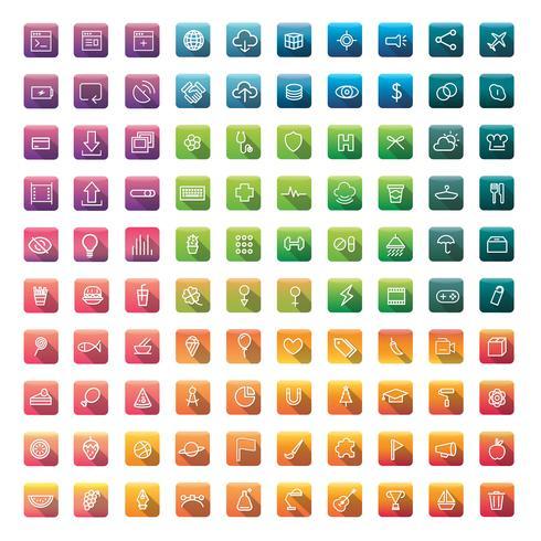 Conjunto de ícones e símbolos