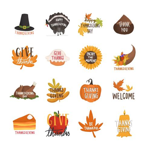 Set of autumn or fall illustrations