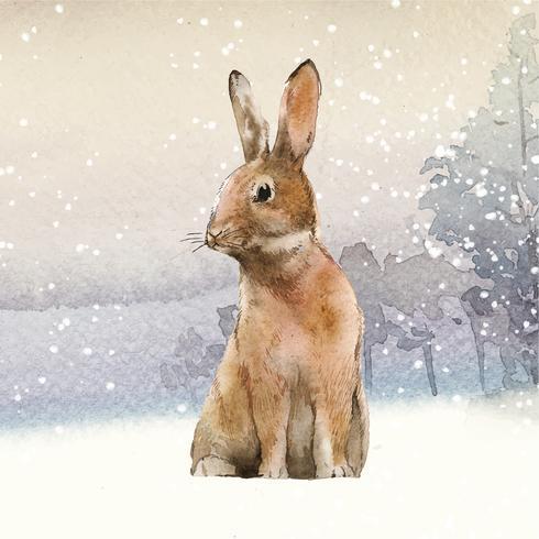 Lebre selvagem em um país das maravilhas do inverno pintado pelo vetor de aquarela