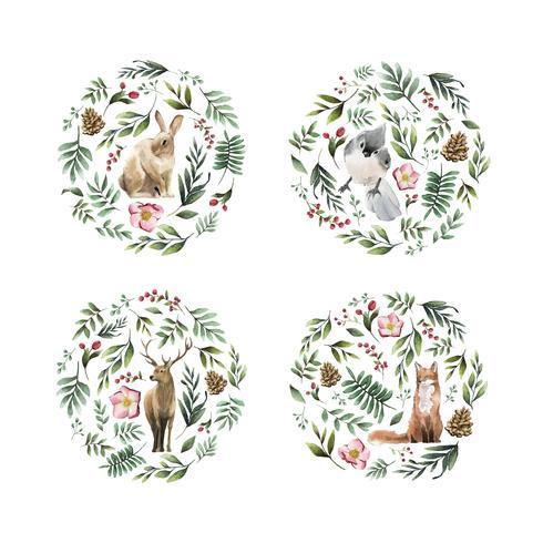 Animales salvajes con flores y hojas pintadas por acuarela.