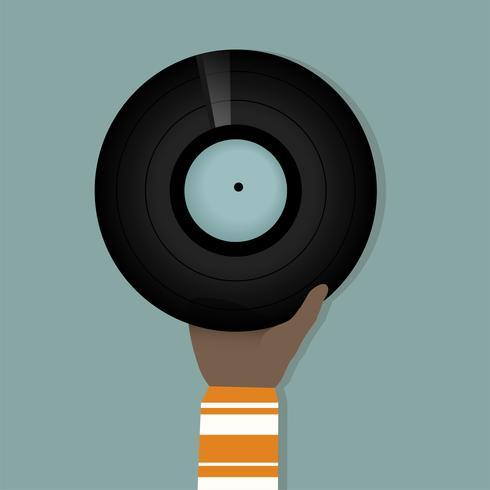 Illustratie van een hand die vinylverslag houdt