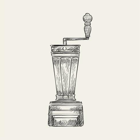 Ilustração vintage de um moedor de café