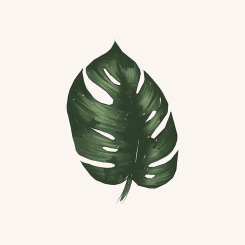 Ilustração, de, folha verde, aquarela, estilo
