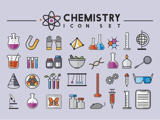 Illustrazione degli strumenti del laboratorio di chimica messi