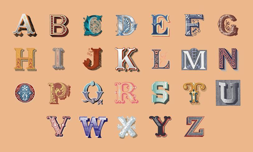 De alfabetreeks hoofd uitstekende brieven