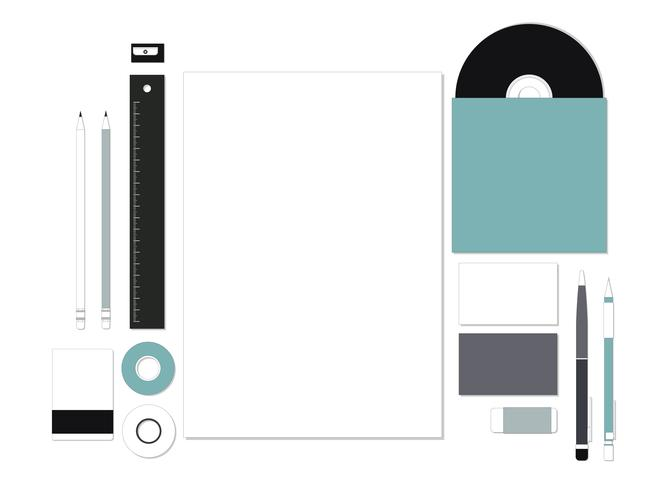 Set of stationery on workspace illustration