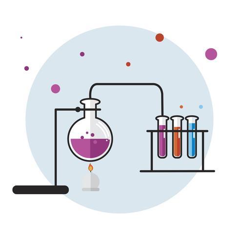 Illustration av kemi laboratorium instrument set