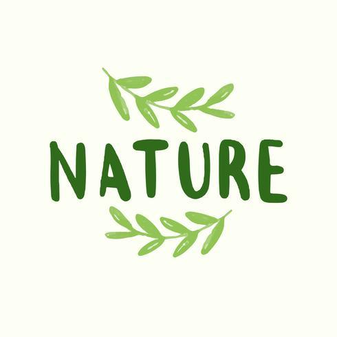 Natuur typografie vector in het groen