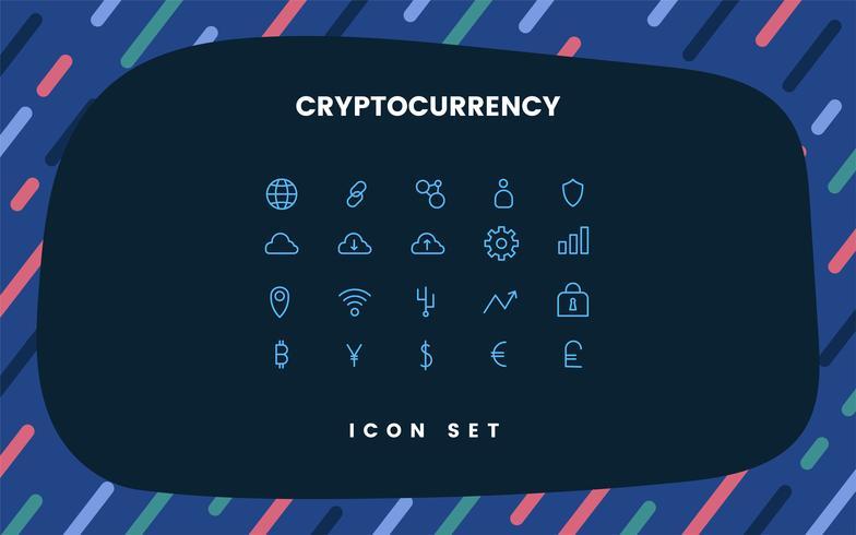 Cryptocurrency satt elektronisk kontant symbol vektor