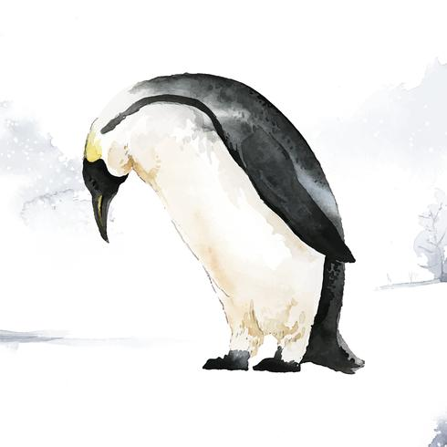Pinguim-imperador no vetor de aquarela de neve