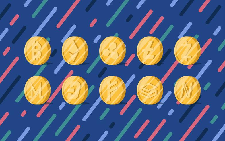 Sats av olika cryptocurrency elektroniska kontant symbol vektor