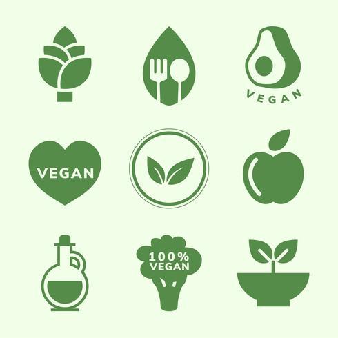 Colección de vectores de iconos veganos