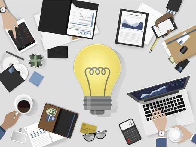 Illustration av brainstorming business team