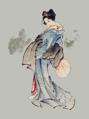 Ilustración de estilo japonés tradicional de Ukyio-e de una mujer japonesa en kimono por Katsushika Hokusai (1760-1849). Original de la Biblioteca del Congreso. Mejorado digitalmente por rawpixel.