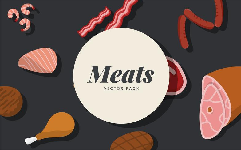 Meat vector pack on black background