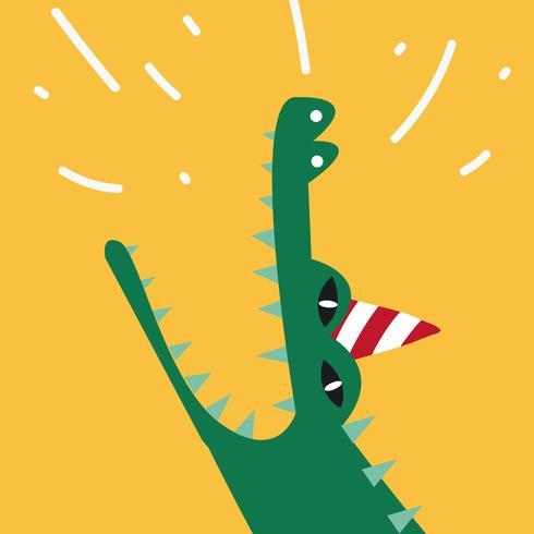 Crocodilo aquático dos desenhos animados, vestindo um vetor de chapéu de festa