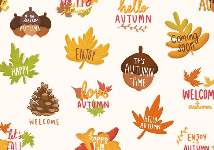 Conjunto de outono ou outono ilustrações