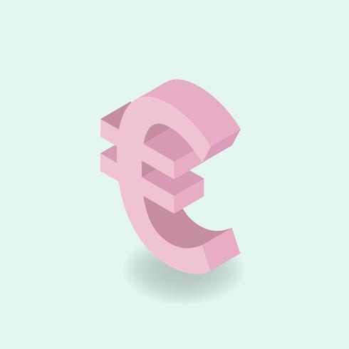 Vector icon of money Ícone de sinal de euro