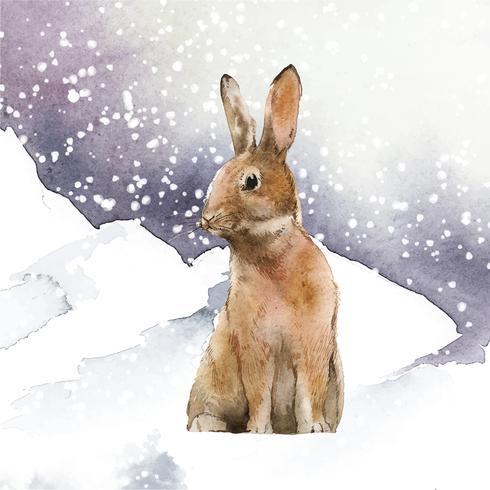 Lièvre sauvage au pays des merveilles de l'hiver peint par vecteur aquarelle