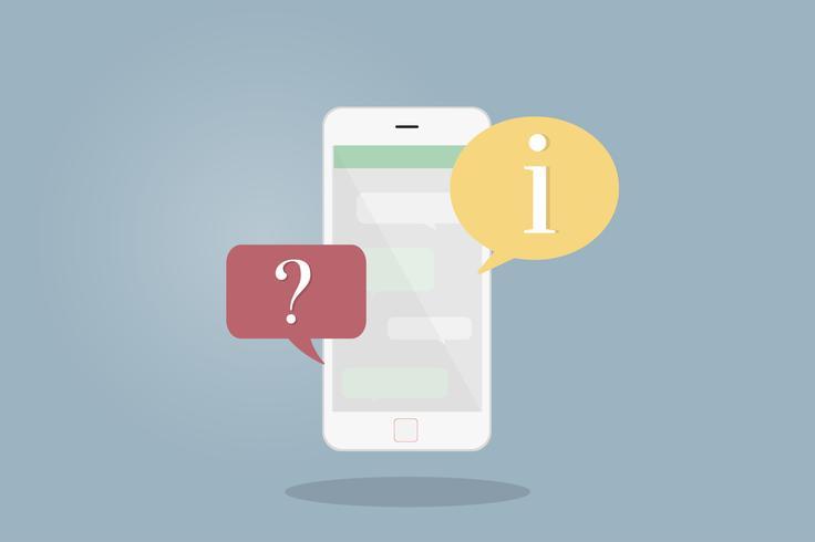 Ilustração, de, telefone móvel, com, fala, bolhas