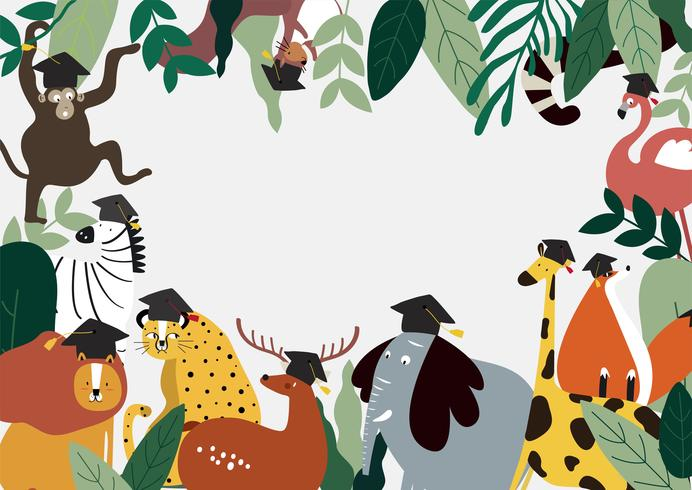 Dieren onderwijs thema sjabloon vectorillustratie