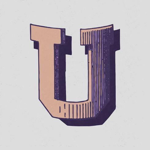 Weinlese-Typografieart des Großbuchstaben U