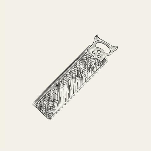 Vintage illustration av en såg
