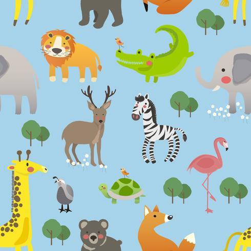 Conjunto de estilo de desenho de ilustração da vida selvagem