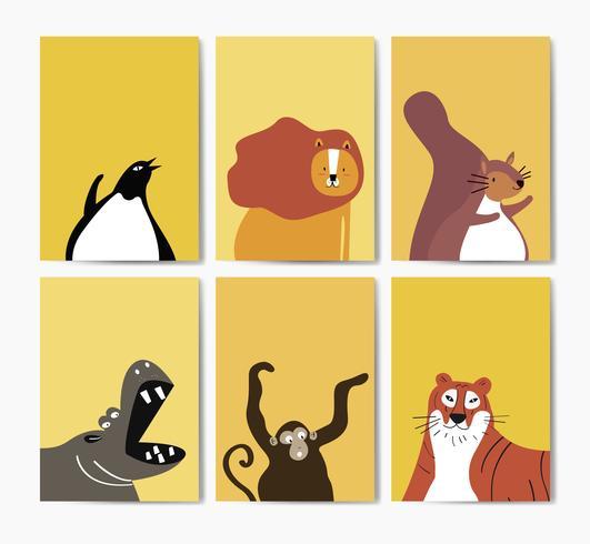 Raccolta di simpatici animali in stile cartone animato vettoriale