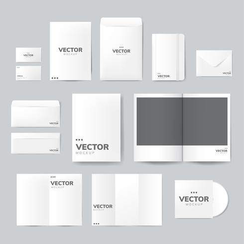 Conjunto de material de impressão projeta vector maquete