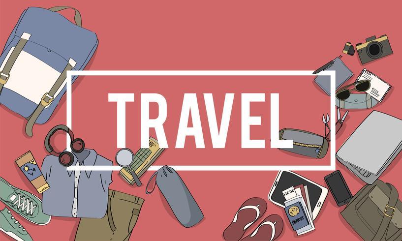 Ilustração, de, viagem, embalagem